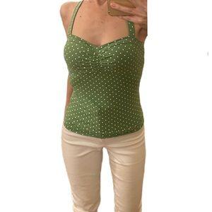 NWT‼️ Green and white polka dot bra top